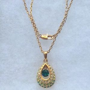 Jewelry - 18K Rose Gold Plated Emerald Necklace Pendant